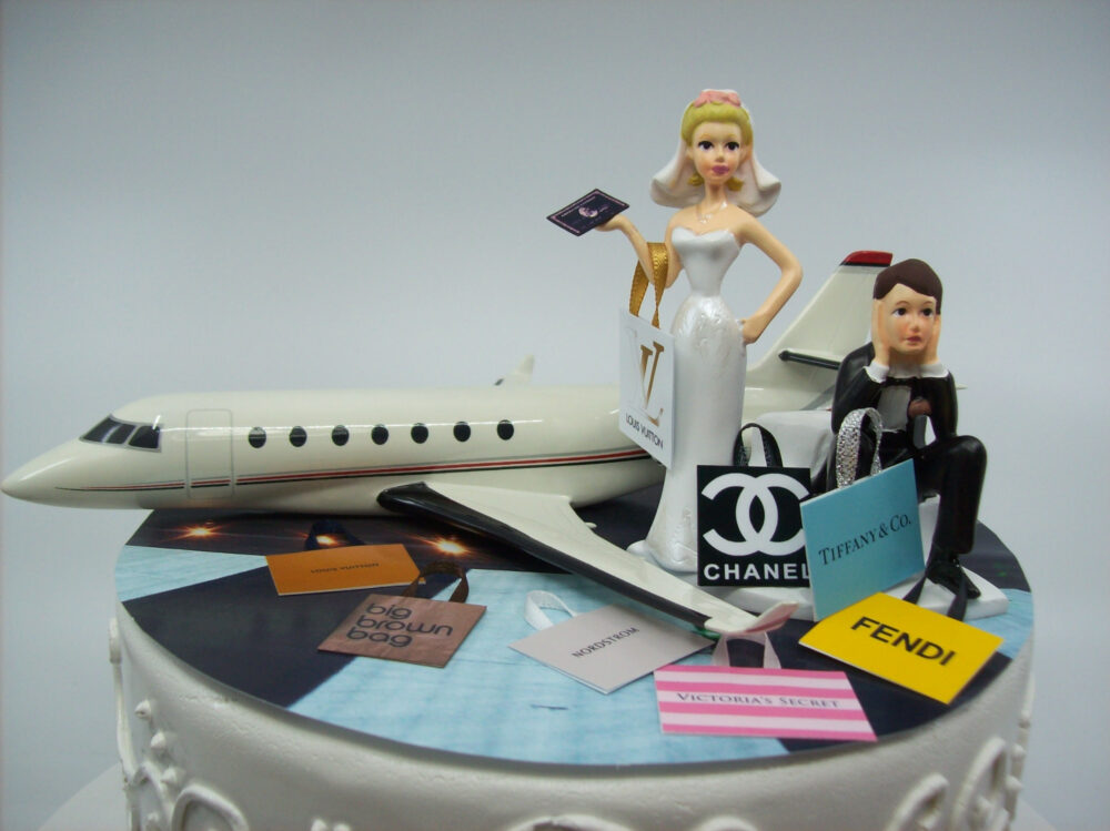 Shopping Jet Set Plane With Black Card & Bags Bride Groom Wedding Cake Topper Funny