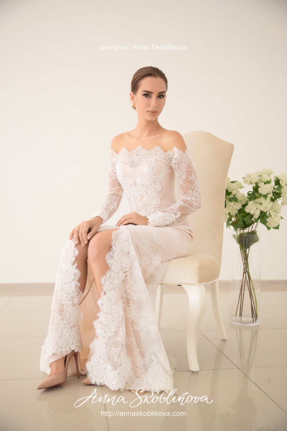 Blush Wedding Dress - Hand Embroidered, Royal Dress, Wedding Gown, Ball Bridal Gown 0046