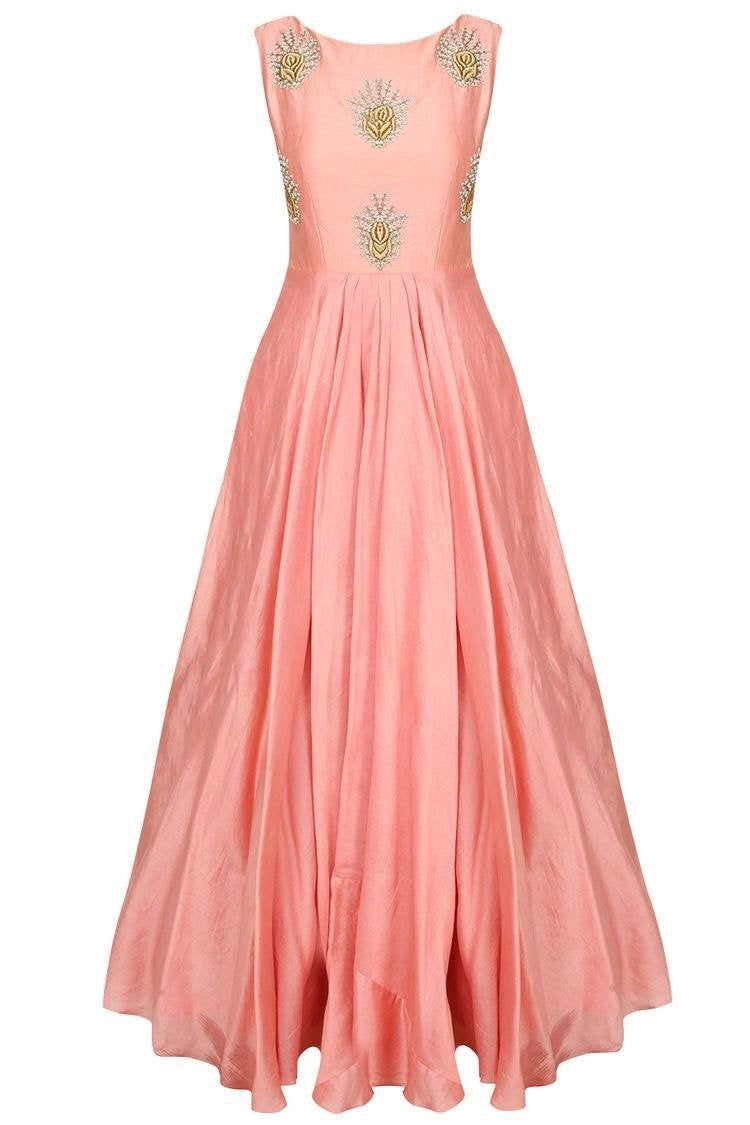Peach Embroidered Flared Gown, Indo Western Dress, Blush Wedding Gown, Evening Ball Reception Dress, Silk Gown