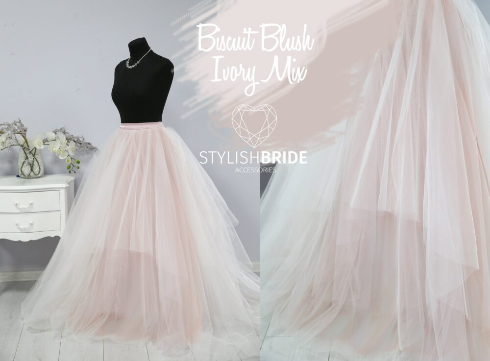 Blush & Ivory Magic Ombre Wedding Tulle Dress Train, Lace Crop Top Skirt Long, Bridal Separates Gown