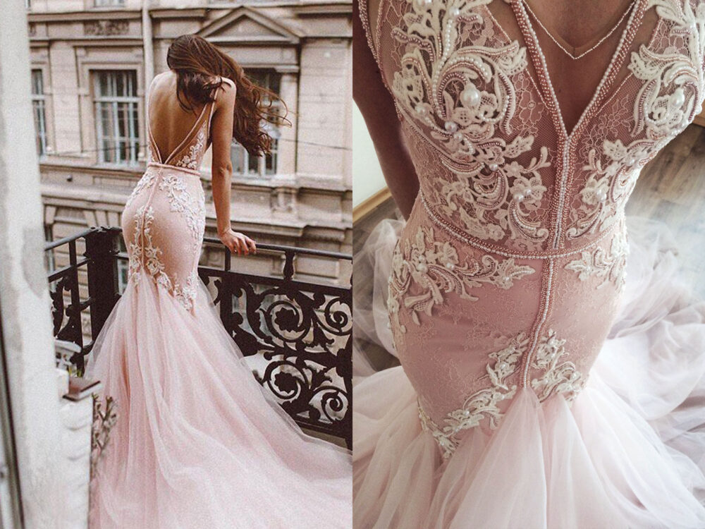 Pink Blush Lace Wedding Dress Mermaid, Fluffy Removable Tulle Skirt Hand Embroidery Lace, Deep V-Back, V-Neck, /Rosali