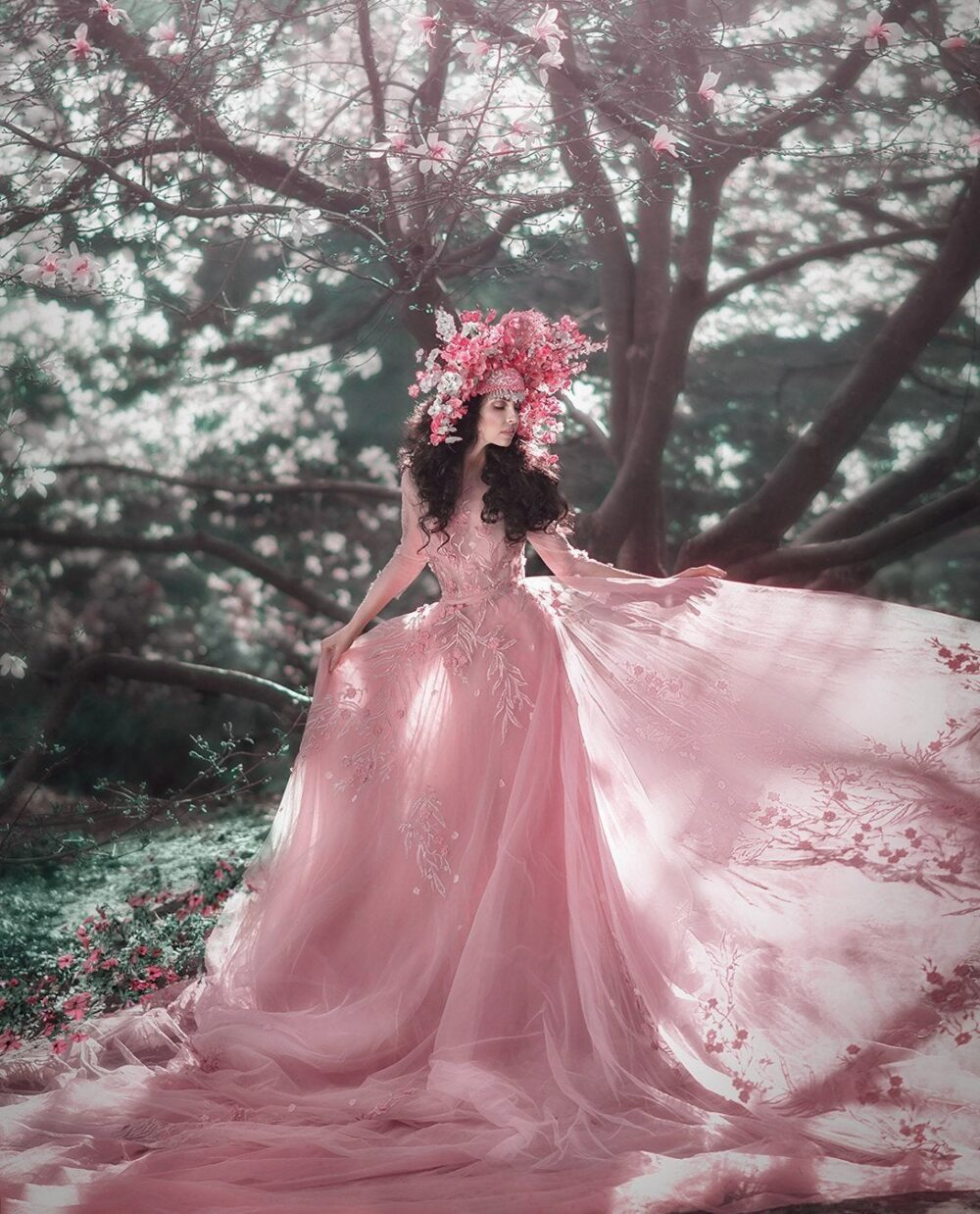 Fairy Couture Blush Wedding Dress With 3D Flower - Long Train Alternative Unique Color Gown