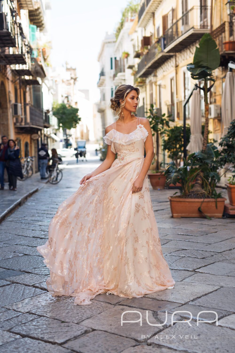 "Wedding Dress ""Astra'/Blush Wedding Gown With Very Light & Flowy Silk Skirt, Pink Dress, Rose Bridal"