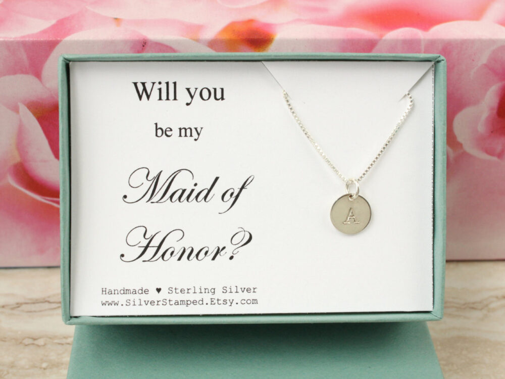 Will You Be My Maid Of Honor Invite Sterling Silver Initial Necklace Personalized Gift For Jewelry Box Wedding Party