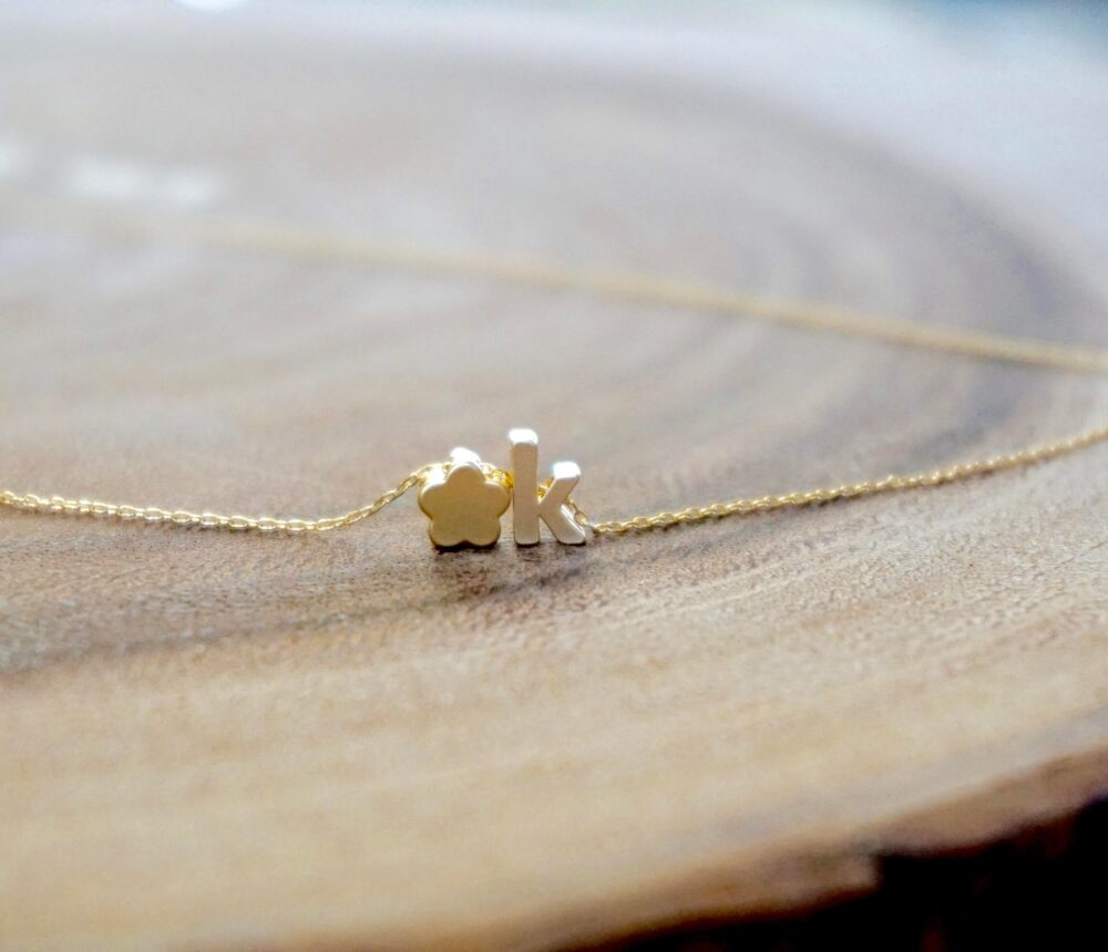 Personalized Flower Necklace - Gold Initial Necklace, Tiny Alphabet Necklace, Personalized Girl Gift, Tiny Charm