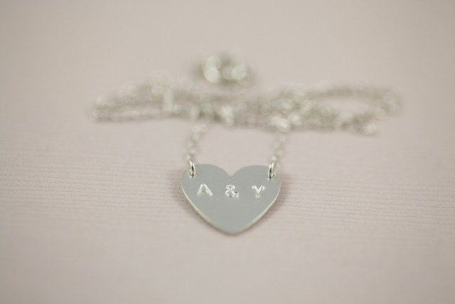 Wedding Gift, Couple Initial Necklace, Love Heart Monogram Necklace - Sterling Silver