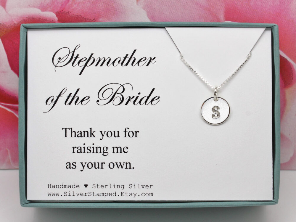 Stepmother Of The Bride Gift, Thank You Gift For Stepmom, Silver Initial Necklace, Personalized Box, Wedding Sterling