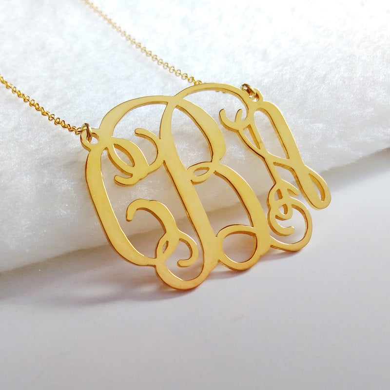 Gold Monogram Initial Necklace, 1.75 Inch Personalized Necklace, 3 Necklace, Nameplate Necklace, Letter Necklace, Wedding Gift