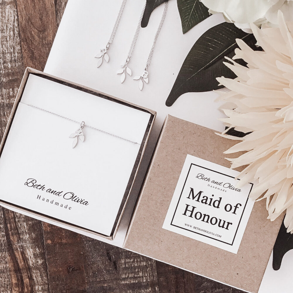 Silver Maid Of Honour Necklace, Leaf Initial Necklace, Personalized Bridesmaid Jewelry, Wedding, Maid Honour