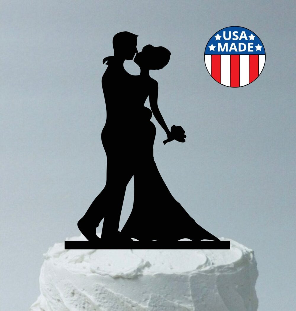 Silhouette Cake Topper Bride & Groom Figurines Wedding Topper, Made in Usa