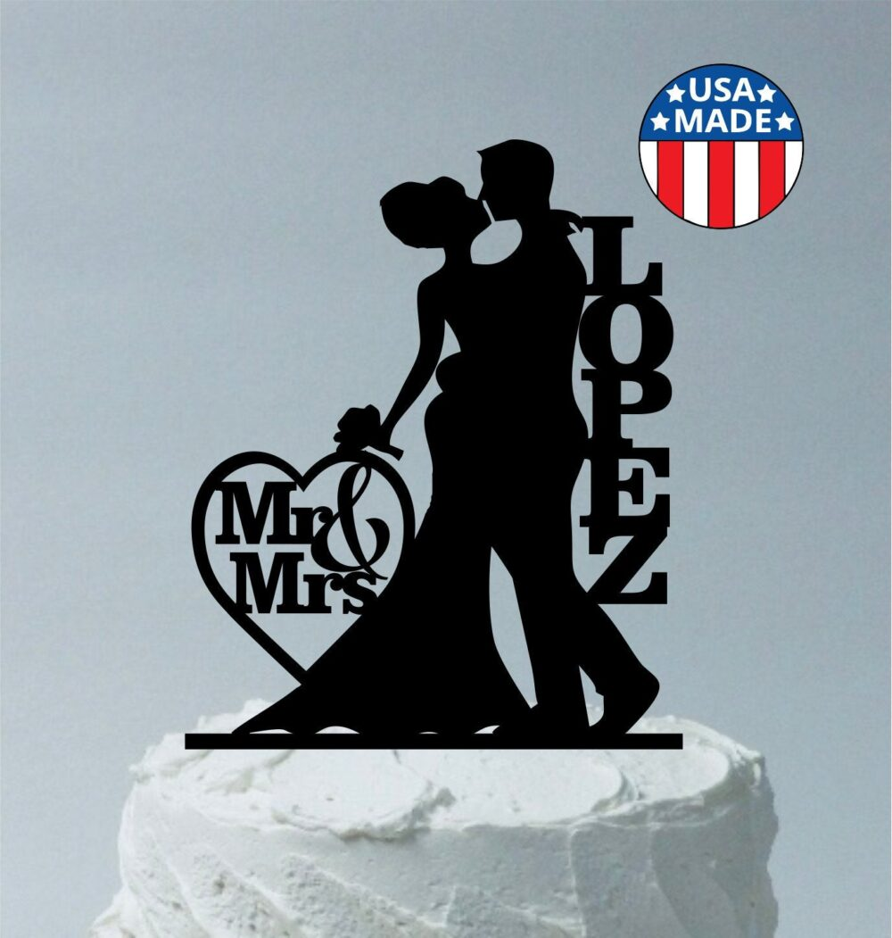Made in Usa, Mr & Mrs Silhouette Cake Topper, Personalized Wedding Topper Bride Groom, With Your Last Family Name