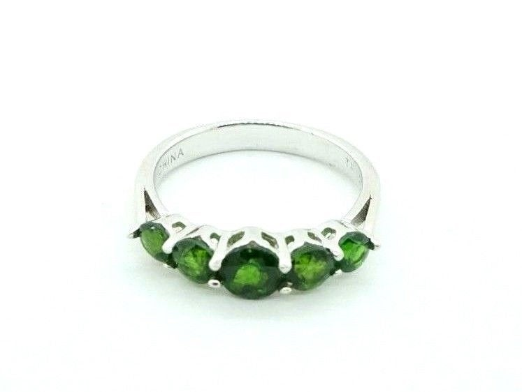 Women's Sterling Silver 925 Wedding Cluster Band Green Cz 5 Stone Ring #20751