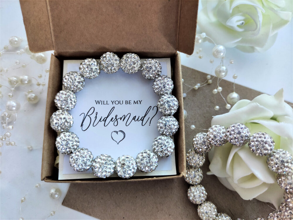 Bridesmaid Proposal Wedding Jewelry Bracelet Rhinestone Crystal Gift Will You Be My Bridesmaids Maid Of Honor Flower Girl Invitation Junior