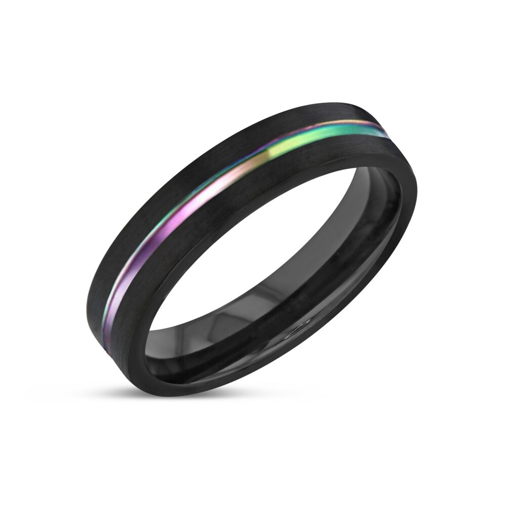 Tungsten Ring, Unisex Wedding Band, Personalized Rainbow Pride Band