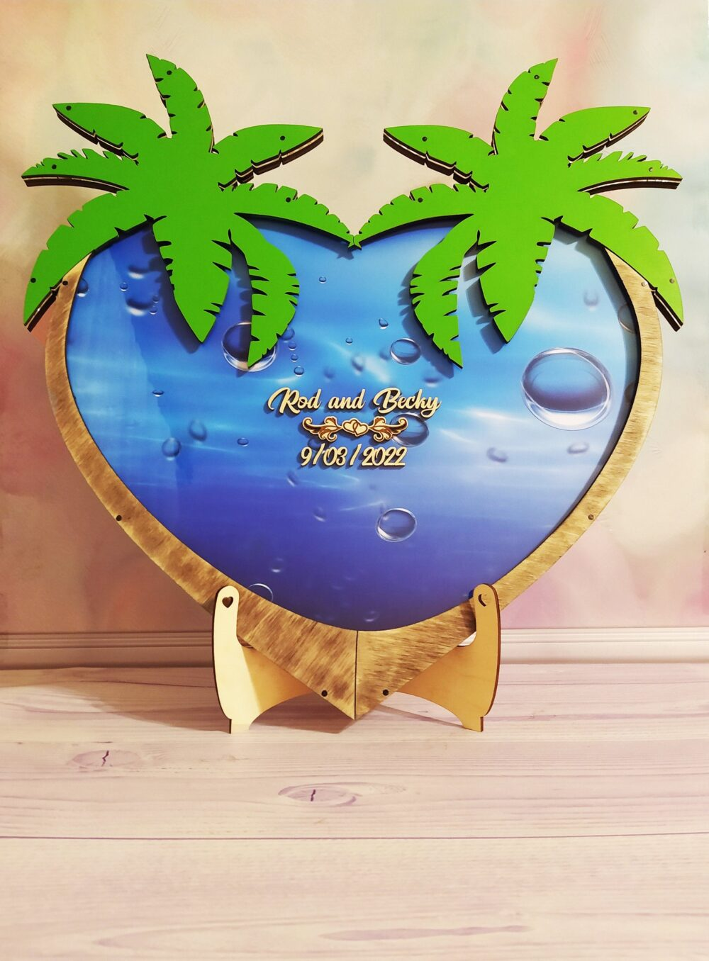 Wedding Guest Book, Palm Tree, Drop Box, Alternative Guestbook, Sea Shell Themed, Beach Unique Tropical Themed