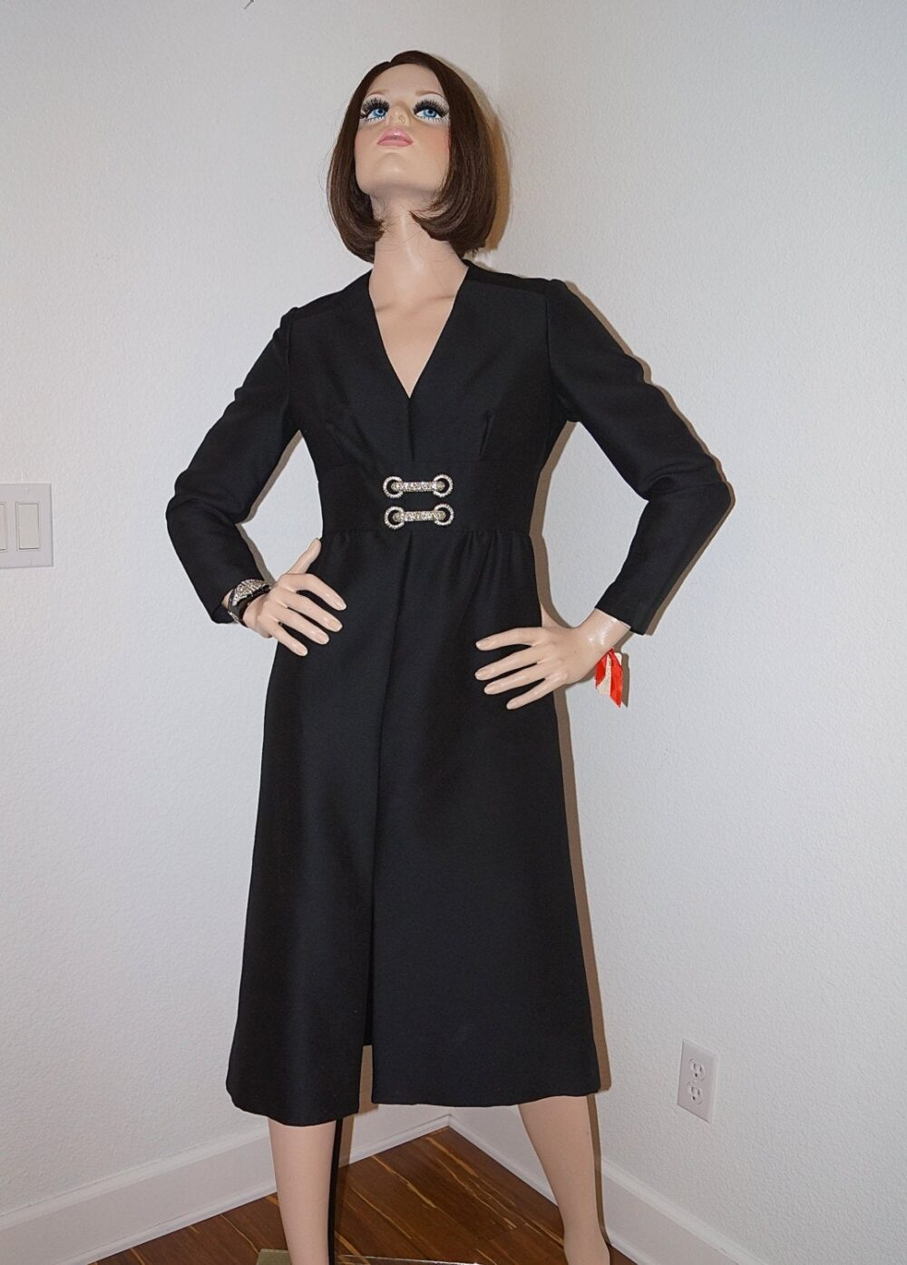 60S Joseph Magnin Black Wool Crepe Dress With Rhinestone Buckle Details/1960S Little New Tags Cocktail Party
