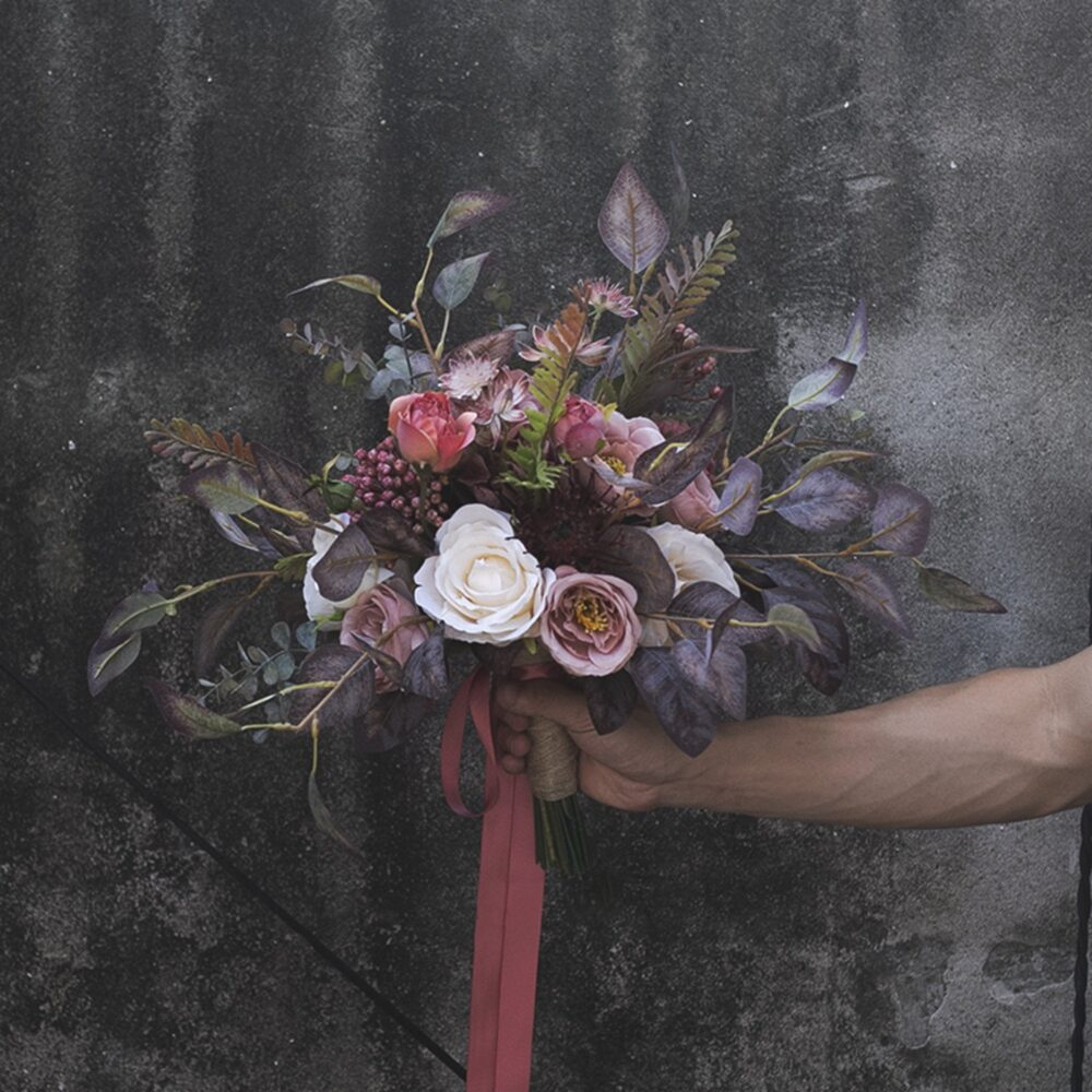 Maroon, Mauve & Dusty Pink Bridal Bouquet For Classic Autumn Wedding, Rustic Boho Bouquet, Gothic