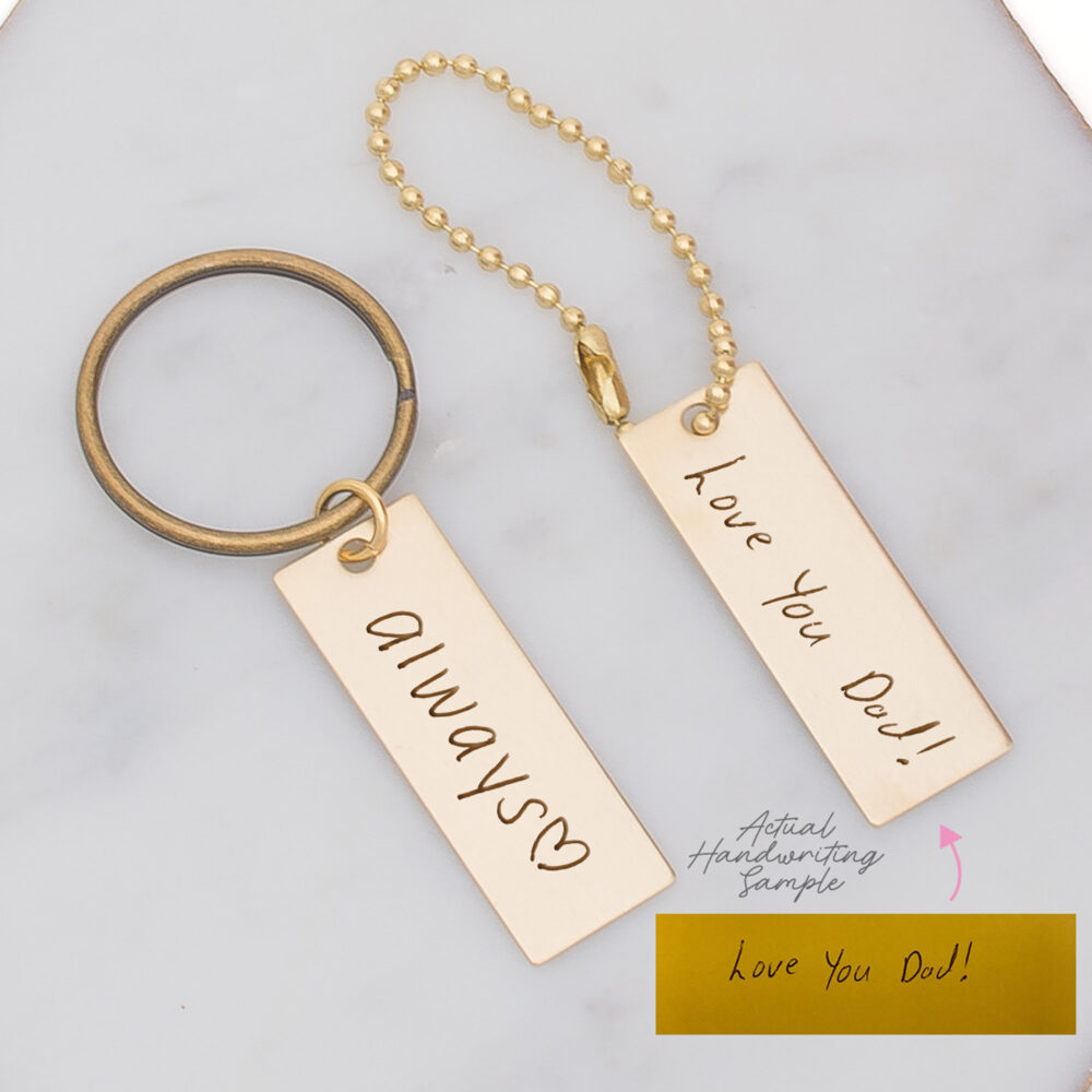 Custom Keychain For Dad, Husband, Father, Actual Handwriting Key Chain, Dad From Family, Handwritten Fob Gift Fathers Day