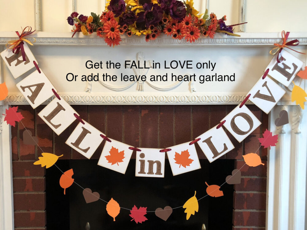 Fall in Love Banner, Wedding Decor, Autumn Banners , Bridal Shower Fall in Love Sign, Custom Colors