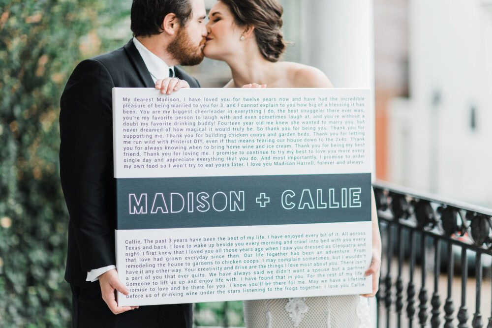 Valentines Day Wedding - Custom Vows Canvas Minimalist Gift For Husband Wife Guest Book Alternative