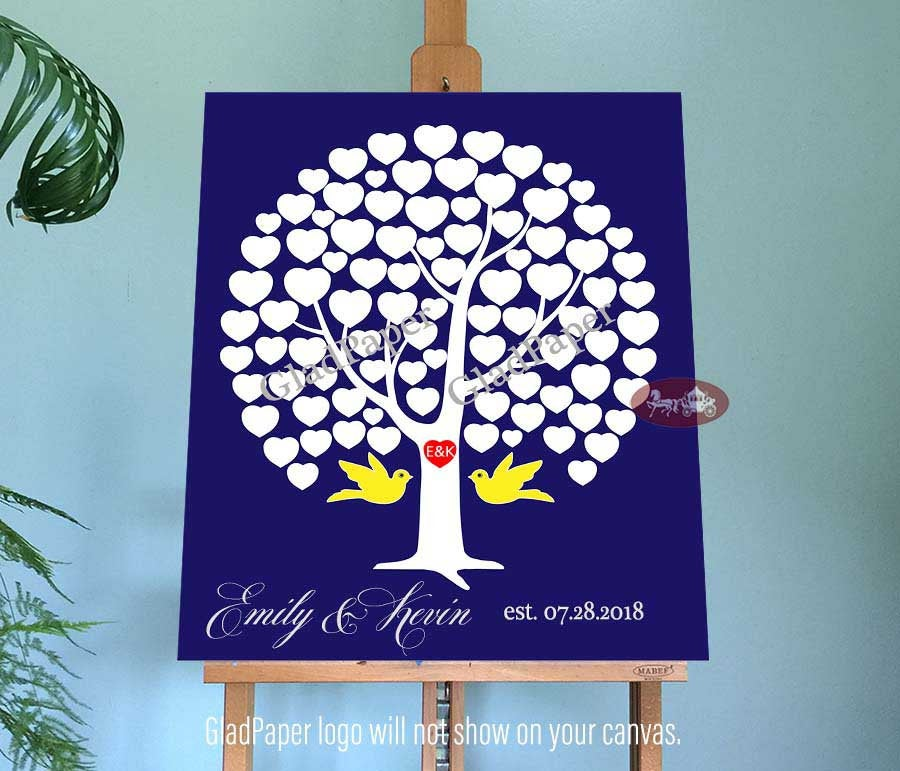 Wedding Guest Book, Tree Love Heart Guestbook, Guestbook Alternative, Personalized Canvas