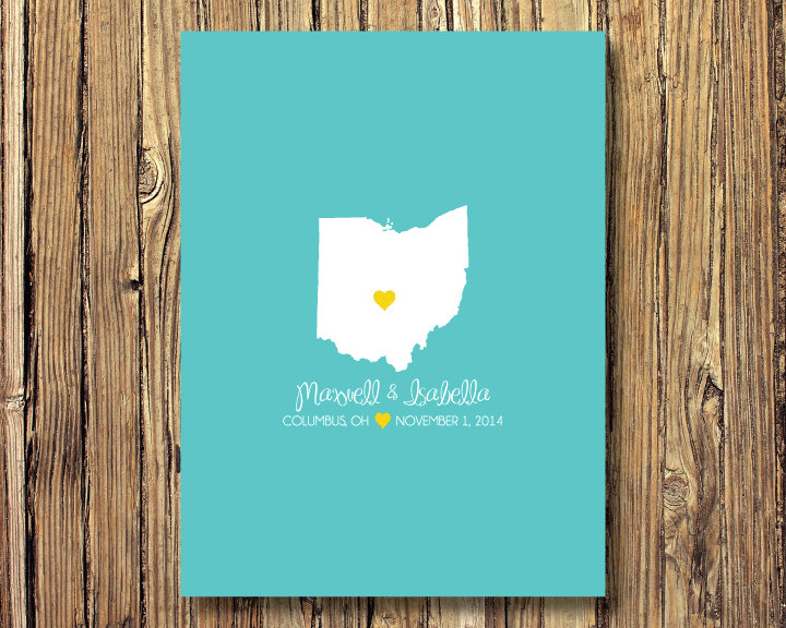State Map Wedding Art Print-Guestbook Alternative-Ohio Or Any State-Guest Book-Poster Or Canvas-16x20 - 18x24 20x30 24x36-Custom Colors