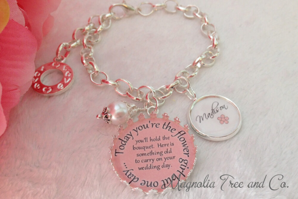 Flower Girl Bracelet, Bridesmaid, Bridal Pendant, Bouquet Charm, Flowergirl Gift, Personalized, Custom, Today You Hold The Bouquet