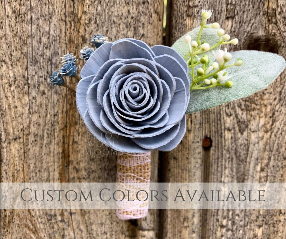 Wood Flower Boutonniere/Dusty Blue Rustic Bridal Bridesmaid Bouquet Wooden Sola Flowers