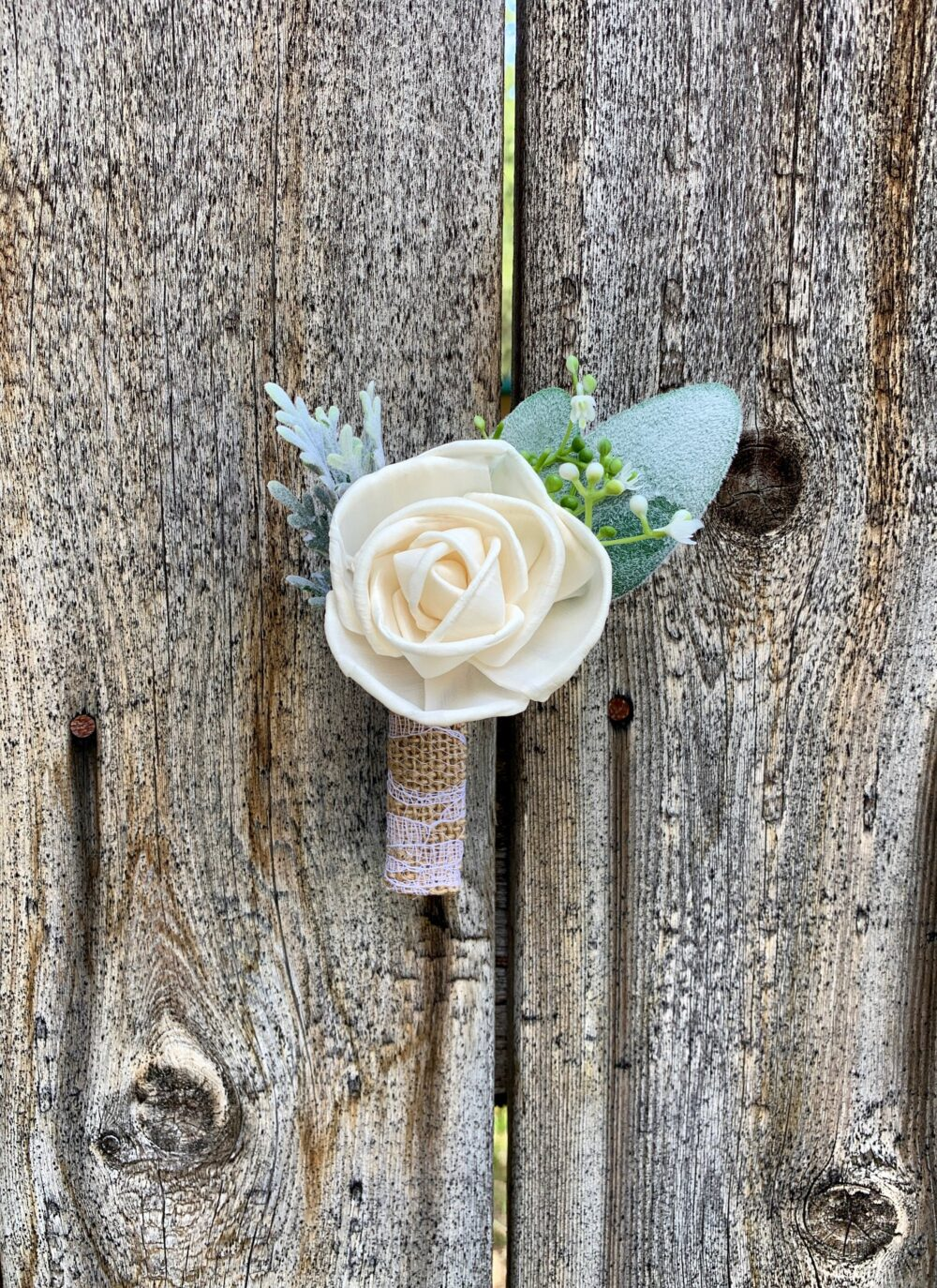 Ivory Wood Flower Boutonniere/Rustic Bridal Bridesmaid Bouquet Wooden Sola Flowers White Cream