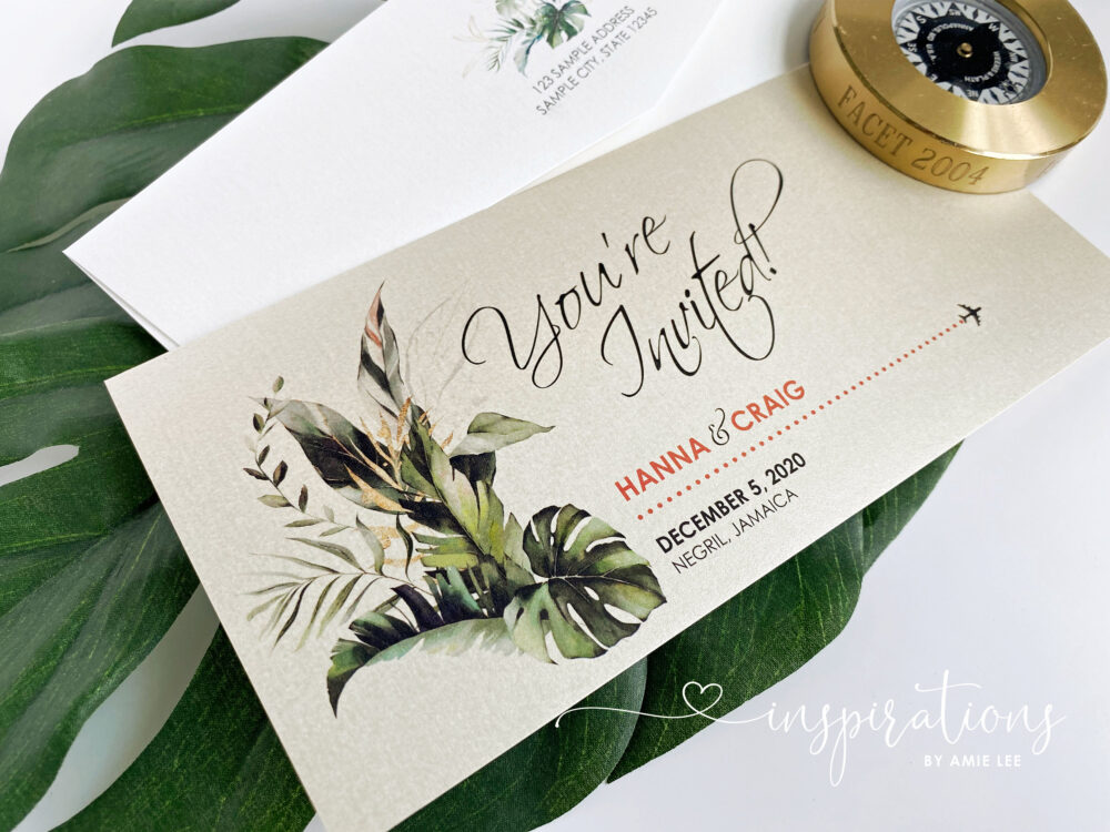 Boarding Pass Wedding Invitations, Destination Wedding, Tropical, Jamaica Airplane Ticket, Travel Theme, Beach Red