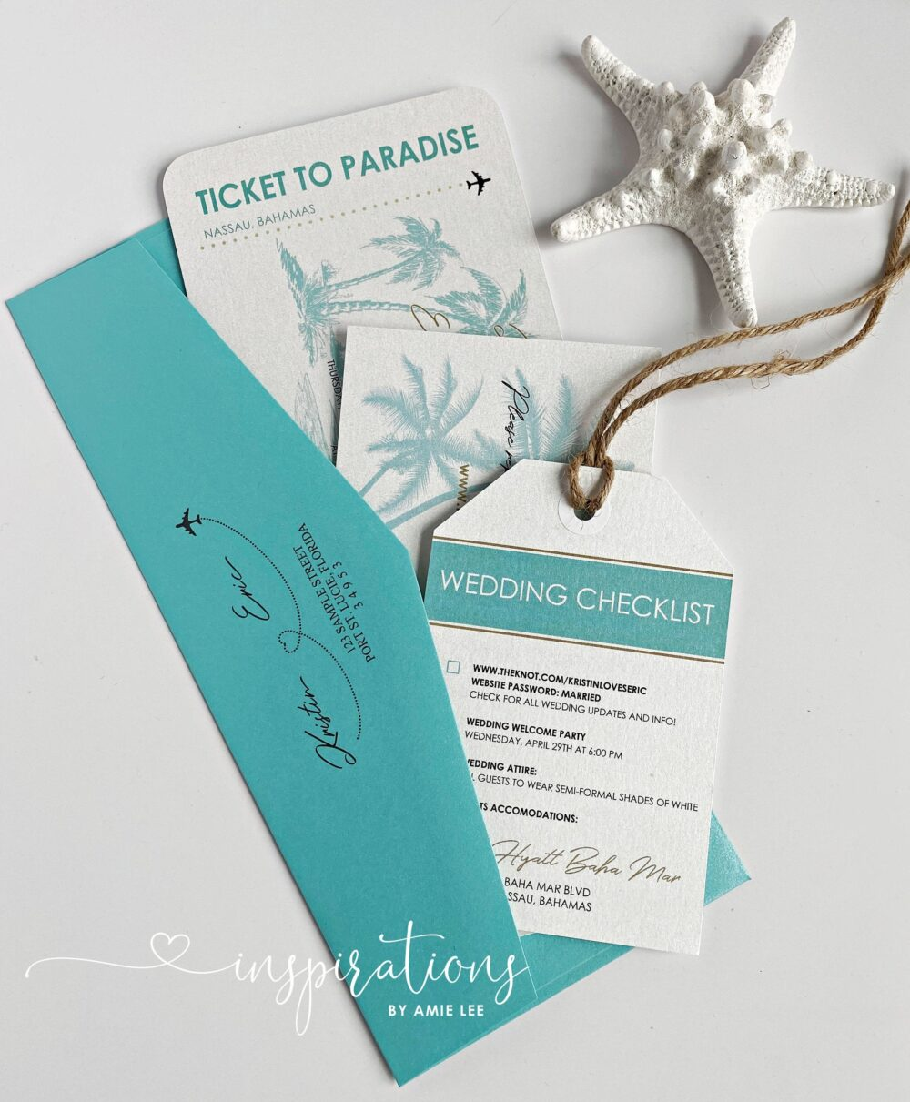 Boarding Pass Wedding Invitations, Destination Wedding, Save The Date, Bahamas, Airplane Ticket, Travel Theme, Beach