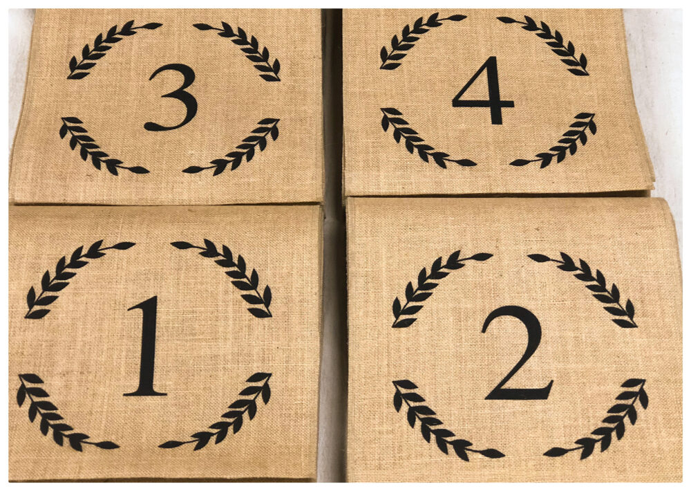 Burlap Table Runner With A Number - Reception Runner, Wedding Decor, Table Numbers, Number