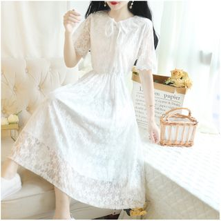Short-Sleeve Tie-Neck Midi A-Line Lace Dress
