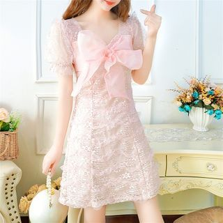 Short-Sleeve Bow-Accent Lace Dress
