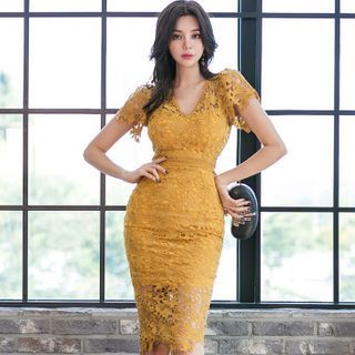 Lace Short-Sleeve Sheath Party Dress