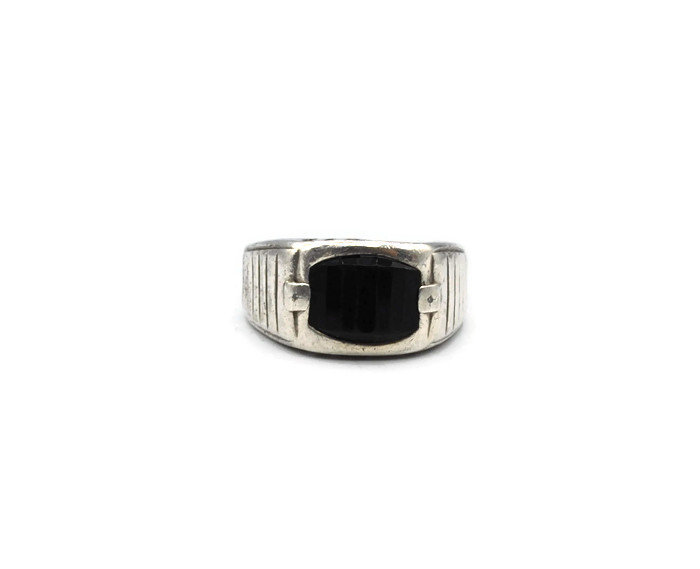 sterling Silver Onyx Dad Ring # 254249587479