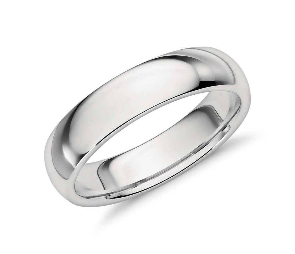 Comfort Fit 5 Mm Sterling Silver Domed Plain Wedding Band, Men Women Unisex Band | 024-5Mm