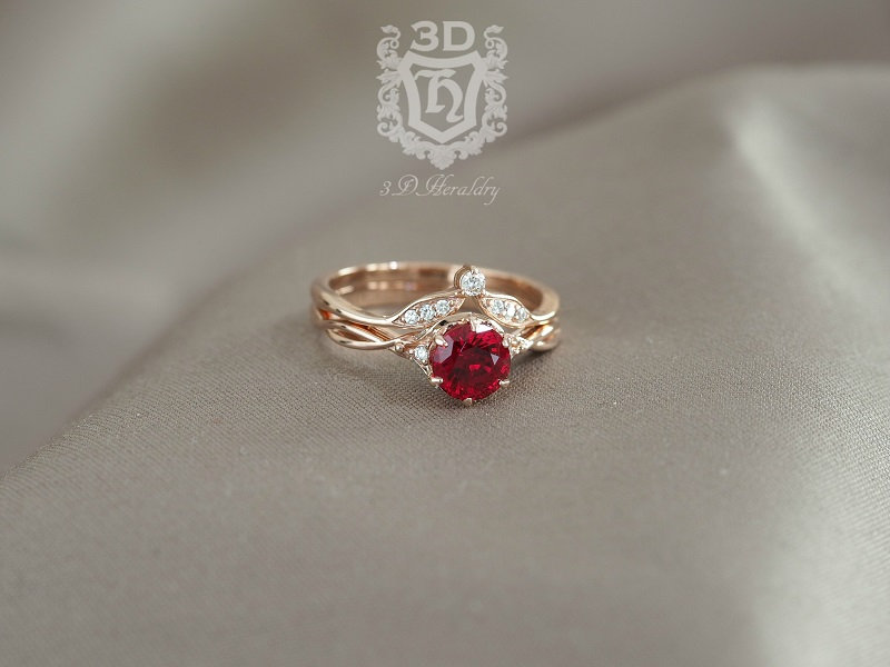 Ruby Ring Set , Engagement Floral Ruby & Diamond Made in Your Choice Of Solid 14K Yellow, White, Or Rose Gold