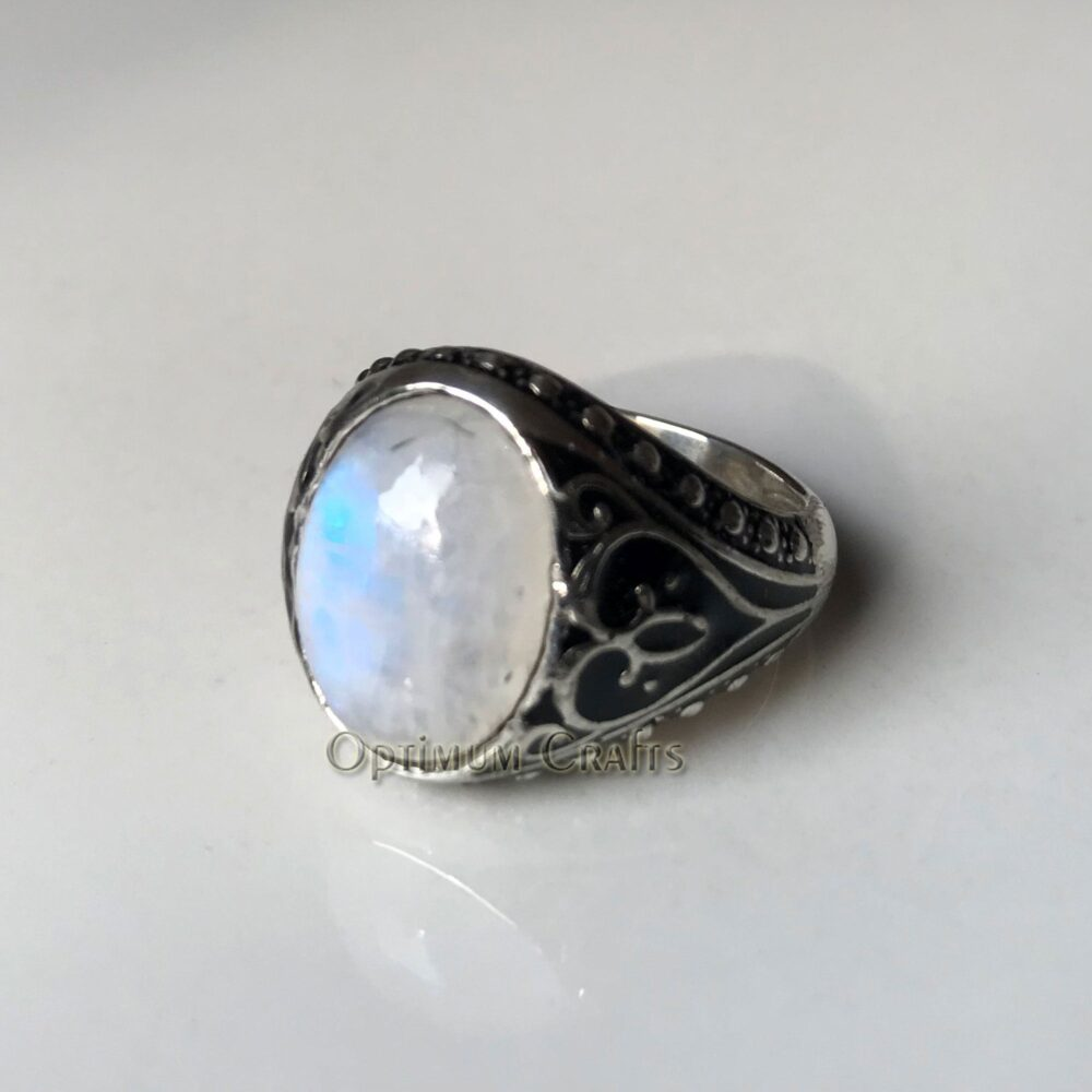Moonstone Ring June Birthstone Handmade Engraved Band Solid 925 Sterling Silver Jewelry Gift For Dad Blue Fire Gem Party Wear Ring