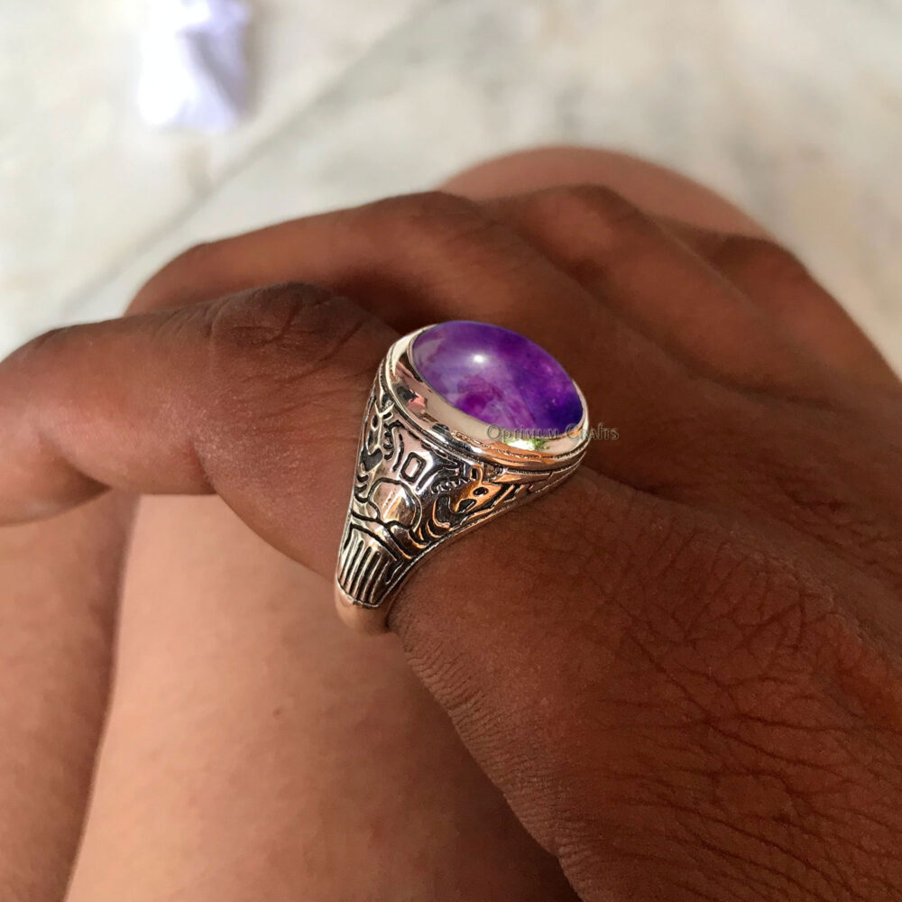 Natural Amethyst Ring 925 Silver February Birthstone Oval Cab Mens Jewellery Perfect Gift For Dad Christmas