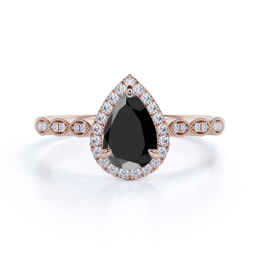 Antique Pear Black Diamond Engagement Ring in Rose Gold, Unique Wedding For Her, Silver Ring, Anniversary Gift