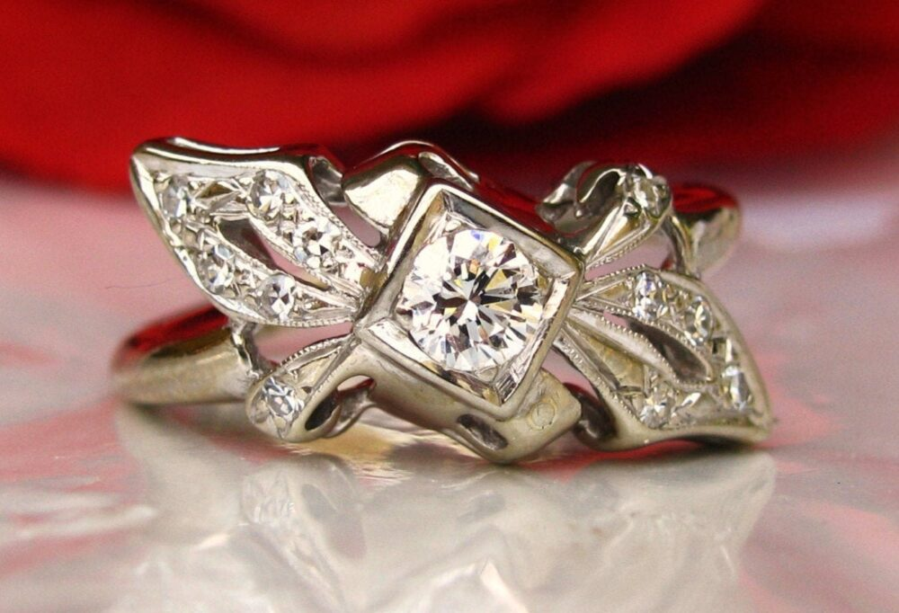 Vintage Engagement Ring 0.36Ctw Ribbon & Bow Diamond Cluster Unique Wedding 14K White Gold Anniversary Bridal Jewelry