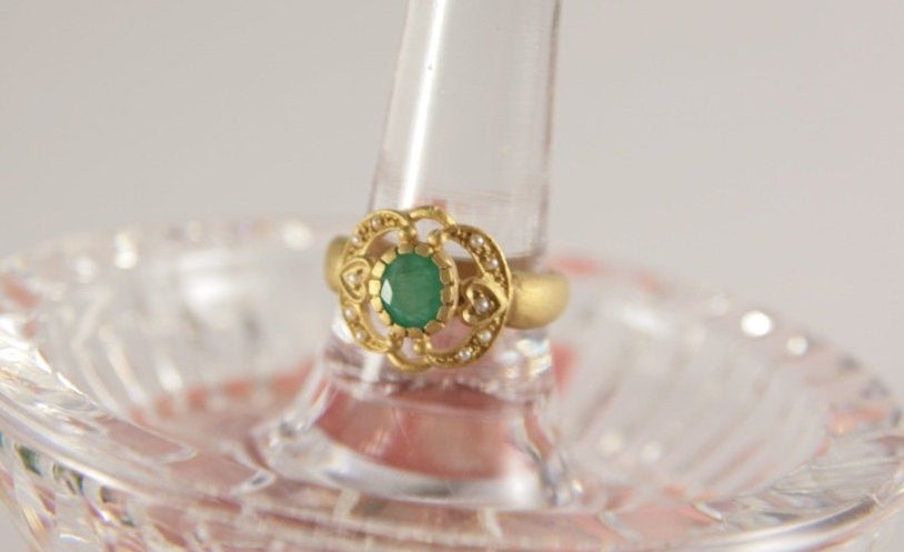 Emerald Ring Antique Style, Vintage Engagement Ring, Gold Bridal Lady Size 5.5, Victorian Jewelry