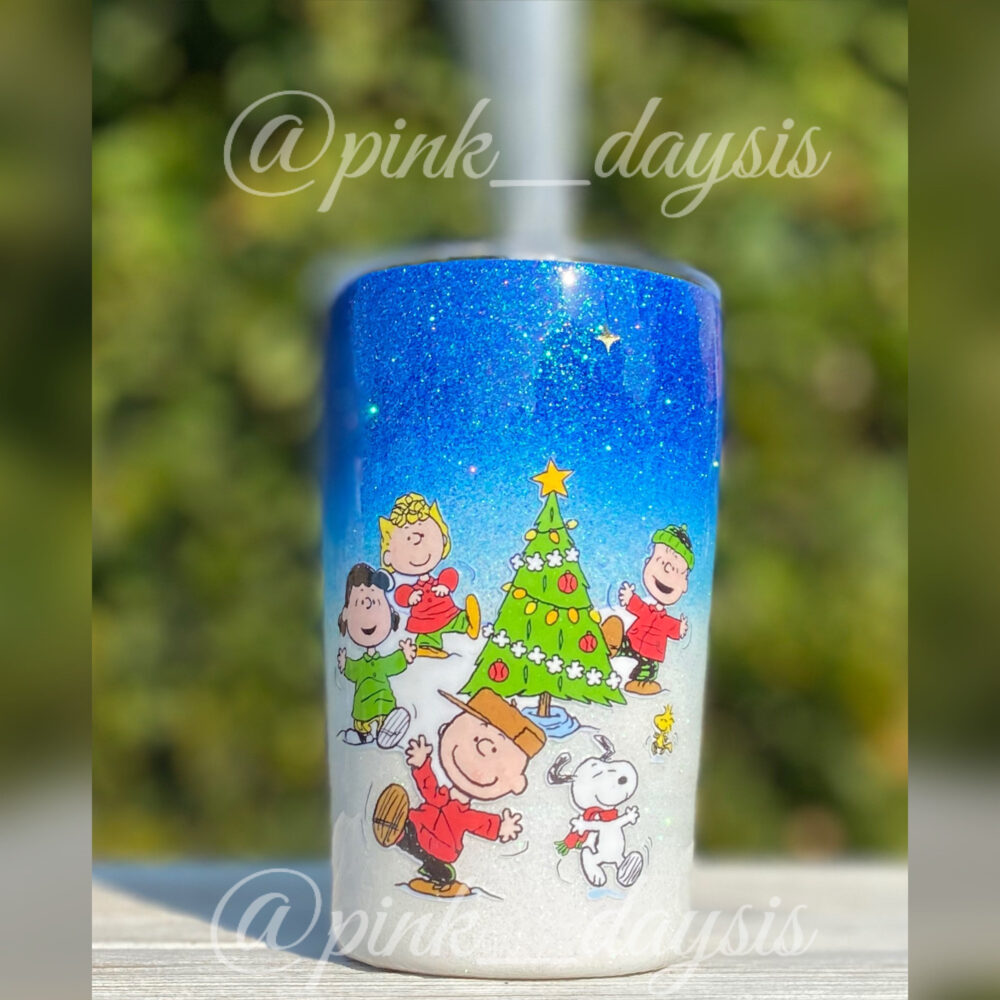 Charlie Brown Peanuts Christmas Inspired Glitter 10 Ounce Tumbler With Straw Coated in Epoxy Resin, Personalized Name