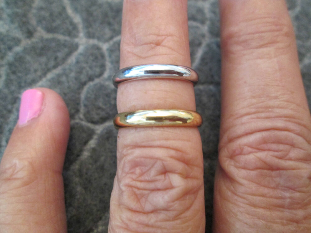 Solid 14Kt. Gold Bands>> Your Choice Of Color> Stackable Rings> Wedding Bands> Vintage 1950's, New Old Stock, Never Worn