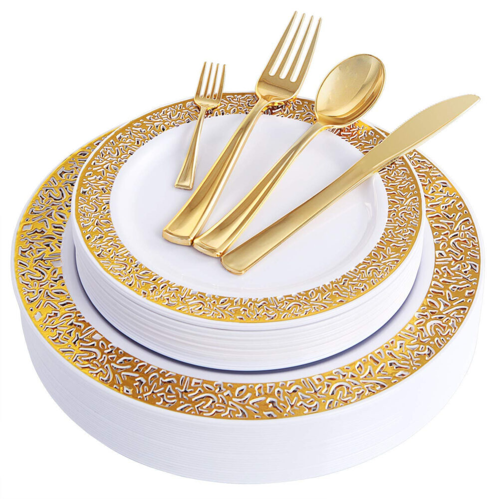 150Pcs Gold Plastic Plates Disposable Silverware Lace Design Tableware Includes Each Dinner Plates, Salad More