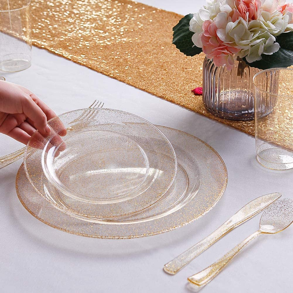 "120Pcs Gold Plastic Plates - Disposable Glitter Plates, Premium Heavy Duty 60-10.25"" Dinner Plates & 60-7.5"" Salad For Parties"