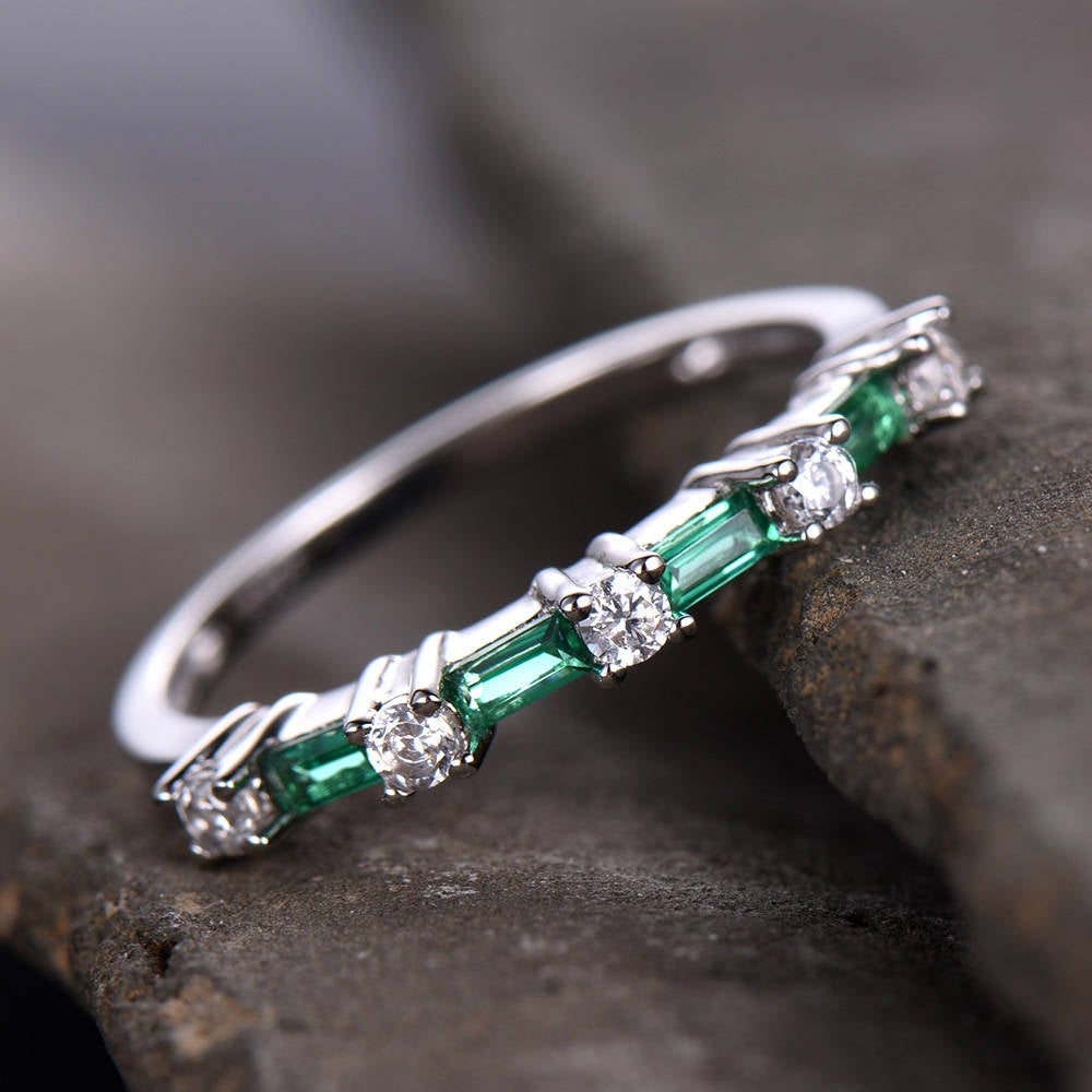 Emerald Wedding Ring Stacking Vintage Cz Band Half Eternity Anniversary Sterling Silver White Gold Plated
