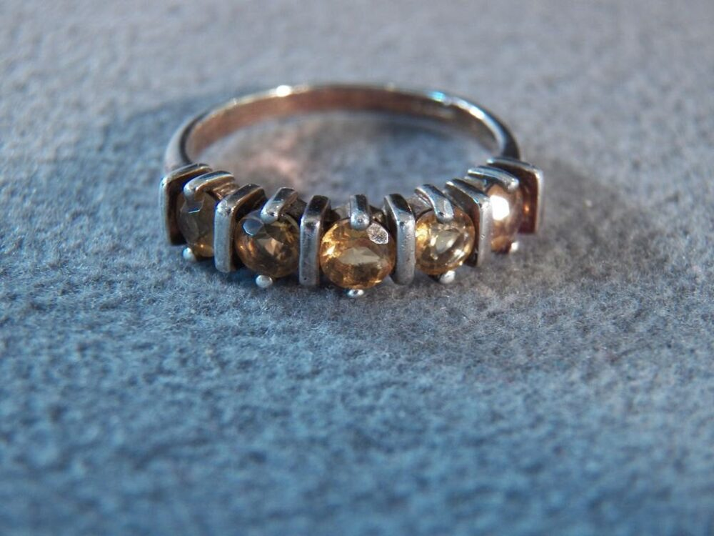 Vintage Sterling Silver 5 Round Golden Citrine Fancy Wedding Band Stacker Style Ring, Size 9 Rl