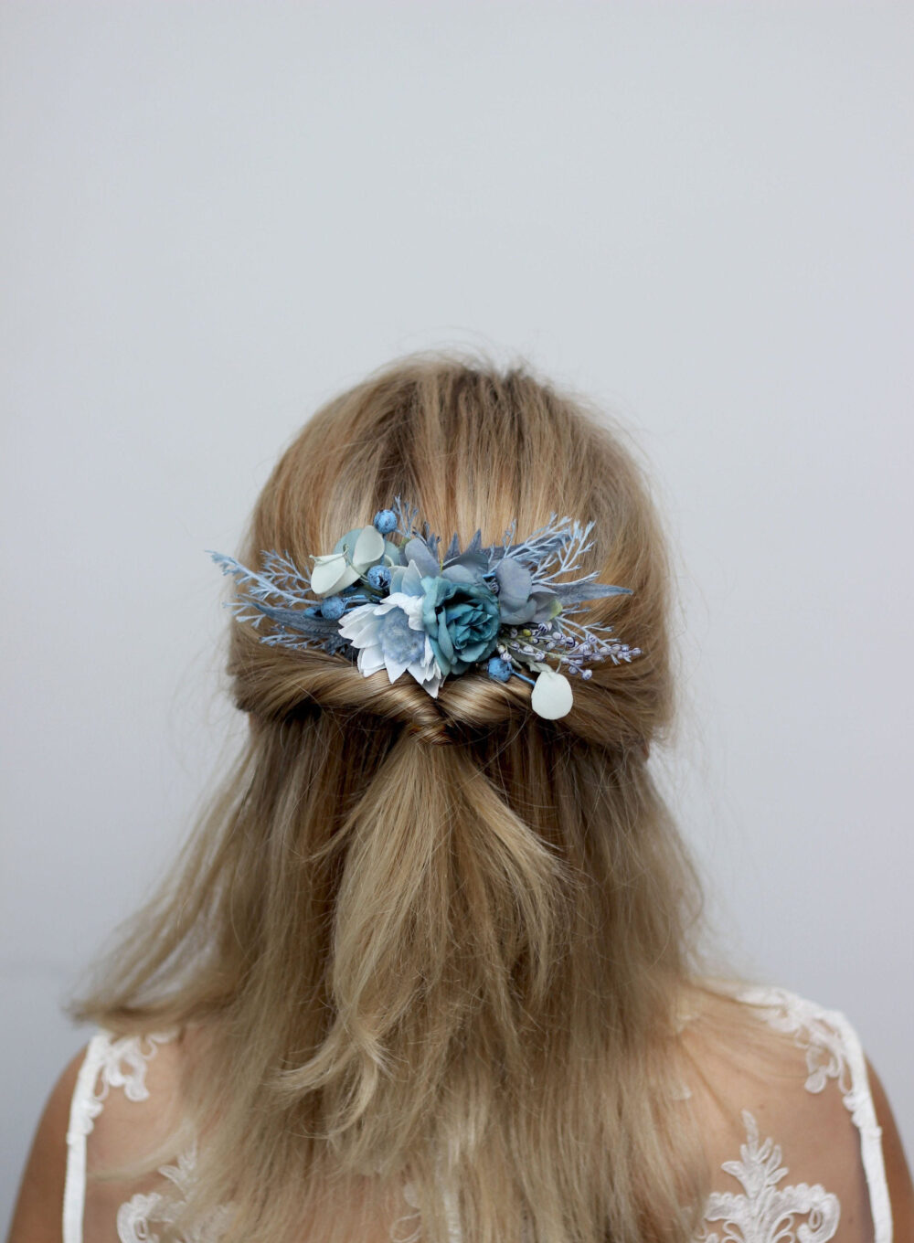 Dusty Blue Wedding Pale Floral Comb Flower Headpiece Bridal Flower Bridesmaid Hair Flowers